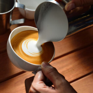 Making of cafe latte art